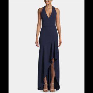 Navy Sleeveless V Neck Maxi Hi-Lo Formal Dress